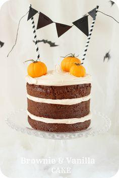 Merceditas Bakery: Halloween: Tarta de brownie y vainilla