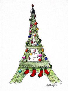 Christmas in Paris Christmas In Paris, French Christmas, Noel Christmas, Christmas And New Year, Xmas, Christmas 2019, Christmas Decor, Christmas Gifts, Illustration Noel