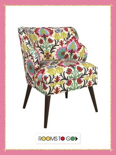 The trendy floral pattern on the Hannah accent chair adds a chic, yet sophisticated edge to any room.