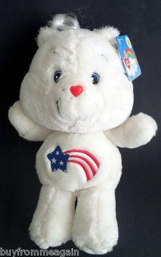 "Care Bears White America 20th Anniversary Plush Stuffed 2002 Patriotic 13"" NEW   *I need this!!!*"
