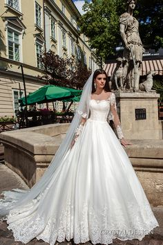 CRYSTAL DESIGN bridal 2016 illusion long sleeves sweetheart neckline lace bodice pretty princess ball gown wedding dress chapel train (alika) mv #bridal #wedding #weddingdress #weddinggown #bridalgown #dreamgown #dreamdress #engaged #inspiration #bridalinspiration #weddinginspiration #weddingdresses #romantic #ballgown #sleeves #longsleeves #crystaldesign