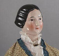 Early Braided Bun Pink Tint China Lady in Regal 28 Inch Size - Joy's Antique Dolls #dollshopsunited
