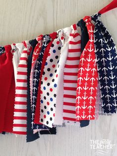 Nautical Patriotic Fabric Tie Garland Rag Bunting + 10% Off Party Supplies Coupon | $29