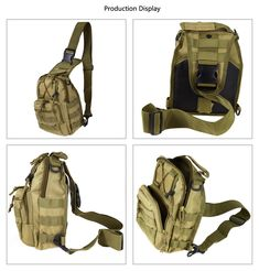 Kenny Walker Tactical Sling Bag Cross Body Chest Rucksack Military Shoulder Pack EDC Molle Fly Fishing Packs for IPad Mini Nylon Outdoor Camping Hiking Trekking Travel Daypack (Khaki) Tactical Backpack, Sling Backpack, Tactical Sling, Survival Gear, Survival Skills, Survival Hacks, Survival Prepping, Shoulder Sling, Hiking Bag