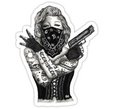 My take and design to the Marilyn Monroe gangster design!! / Check it out on my Instagram!!! • Also buy this artwork on stickers, apparel, phone cases, and more.