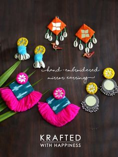 Shop from our wide range of & ✓ Cash on delivery ✓ Discount ✓ Latest Designs Diy Fabric Jewellery, Handmade Beaded Jewelry, Tassel Jewelry, Handmade Jewelry Designs, Textile Jewelry, Silk Thread Earrings, Fabric Earrings, Diy Earrings, Diy Necklace Making