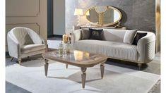 Bedroom Bed Design, Bedroom Furniture Design, Home Room Design, Home Decor Furniture, Luxury Furniture, Bedroom Decor, Silver Living Room, Beige Living Rooms, Gold Sofa