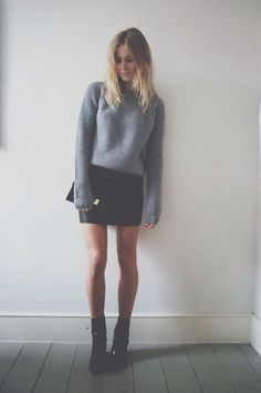 knitted sweater + leather skirt