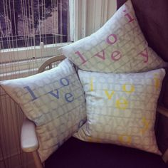 The ABC of i love you Coushions in Baby Blue, Pink and Yellow. I love them all!!! £45.00 each