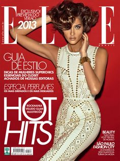 Studded Glamour – Brazilian beauty Ana Beatriz Barros dons a short coif and studded Versace dress from the label's spring 2012 collection for the June cover of Elle Brazil. Ana was photographed by Gui Paganini in São Paulo for the new issue.