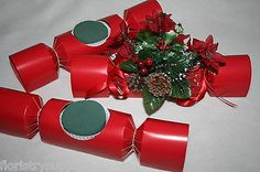oasis-christmas-crackers-floral-xmas-craft-decorations-choose-qty-RED-GOLD-SILV
