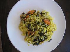 Arroz con wakame y mejillones