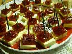 Typical Puerto Rico appetizer. Guava paste with white cheese. Pasta de guayaba con queso blanco.....mmm delicious