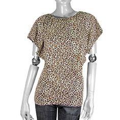 Allegra K Ladies Stretchable Shirt Leopard Print Top Brown XS Allegra K. $9.11