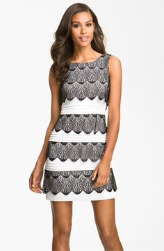 BCBGMAXAZRIA Tiered Lace Cocktail Dress available at Nordstrom
