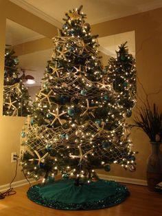 My Beach Christmas Tree - Starfish Garland with white fishing net!