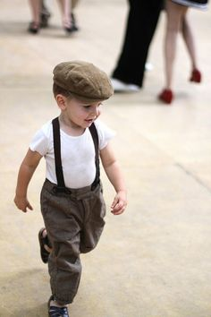 Vintage inspired child's outfit with flat cap and suspenders