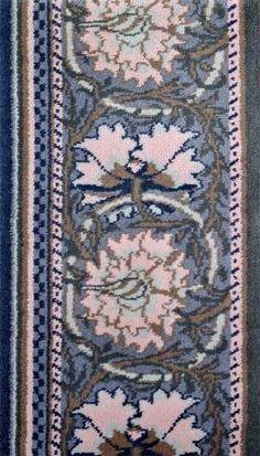 Poppy Border (Blue & Sage) designed by William Morris, manufactured by JR Burrows.