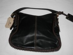 Hobo Style Handbag ~ Black w/ Brown Whip Stitching~ Faux Leather #AimeesTreasures #Hobo
