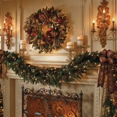 Christmas decorations fireplace