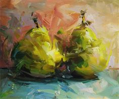 pears by Paul Wright Love the wildness of his brushstrokes-