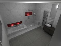Bathroom - Carrera marble walls - Bisazza mosaic (red) Laufen Palomba washbowl