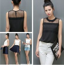 Mulheres Chiffon camisa primavera verão marca blusa camisa Casual Turn - down Collar sem mangas camisa de renda(China (Mainland))