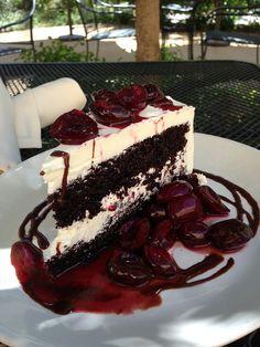 Dark Chocolate Cake, Swiss Buttercream, Brandied Bing Cherries