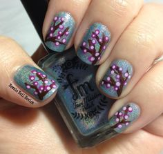 Fair Maiden Polish Times Square with freehand cherry blossom nail art
