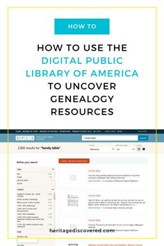 The Digital Public Library of America has millions of images, videos, and more from archives across the US. Click to read more about how to use this fabulous resource in your genealogy work!#genealogy #genealogyresearch Free Genealogy Sites, Genealogy Research, African American Genealogy, Library Of America, Family Tree Research, Community Cookbook, Military Records, Family History, Helping People