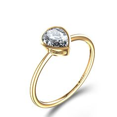 Bezel Set 1-1/2 ctw Pear-Shaped Diamond Engagement Ring in 14k Yellow Gold