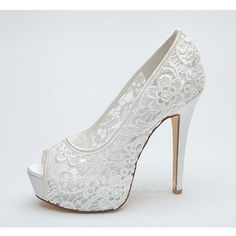 Women's Lace Stiletto Heel Peep Toe Platform Pumps Sandals (047053934)