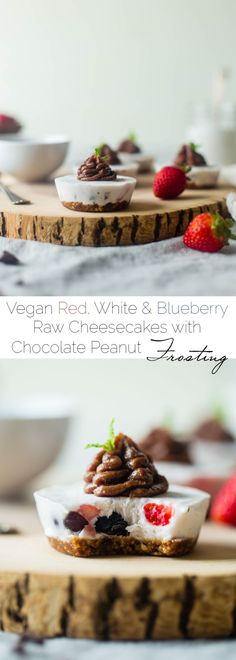 Red, White & Blueberry Coconut Raw Cheesecakes with Chocolate Peanut Frosting - Coconut cream, fresh berries and chocolate powdered peanut butter make these no-bake treats that are vegan friendly and perfect for the fourth of July! | Foodfaithfitness.com | @FoodFaithFit