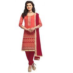 Peach Banaras #Party Wear Churidar Suits With Dupatta #Salwarkameez
