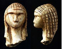 Venus of Brassempouy - Gravettian Culture, carved mammoth ivory, Brassempouy, France; c. 25,000 BP