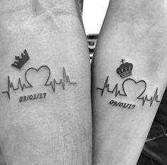Minus the crowns - Tatoo - Tatouage Bff Tattoos, Partner Tattoos, Finger Tattoos, Body Art Tattoos, Small Tattoos, Tattos, Wrist Tattoos, Crown Couple Tattoo, Couple Tattoos Love