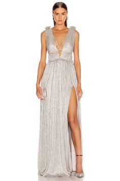 Plisse Lame Maxi Dress in Cool Silver Funky Dresses, High Fashion Dresses, Fashion Outfits, Long Dresses, Lame Fabric, Gala Dresses, Jonathan Simkhai, Metallic Dress, Formal Gowns