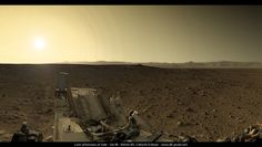 Late afternoon in Gale Crater, Curiosity sol 49 As the Sun set on sol 49 (September 25, 2012), Curiosity used its Navigation Camera to take a panoramic view of the dramatically lit landscape. In this version, Damien Bouic has colorized the grayscale Navcam data with color thumbnails from a Mastcam panorama taken under higher sun conditions.