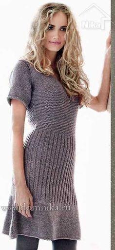 Описание вязания платья спицами