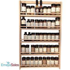 EmejiaSales Oak Spice Rack Wall Mount Organizer (5-Shelf ...