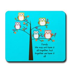 Owl Family Mouse Pad by FolkandFunky on Etsy