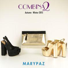 COMBINA2: 1 bolso xa 2 zapatos ¡Total look festivo!  ¿ Cuál sería tu outfit favorito ?  PEEP TOES NEGROS ► http://www.marypaz.com/tienda-online/peep-toes-de-tacon-y-plataforma-destalonado-51316.html?sku=72370-35  BOLSO ► http://www.marypaz.com/tienda-online/bolso-tipo-sobre-52137.html?sku=73253-00  SANDALIA DORADA ►  http://www.marypaz.com/tienda-online/sandalia-de-tacon-y-plataforma-53474.html?sku=72536