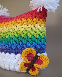 Bountiful Butterflies pattern.  Cute rainbow hat!