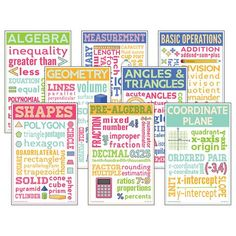 Math Chatter Charts Set of 8 Add learning and color to your classroom with these posters featuring important terms and colorful illustrations. The eight x posters focus on shapes, basic operations, measurement, pre-algebr. Classroom Walls, Classroom Posters, Math Classroom, Classroom Decor, Math Teacher, Teacher Created Resources, Math Resources, Math Activities, Geometry Angles