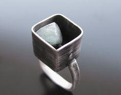 Aquamarine Square Box Ring - Handmade jewelry, Χειροποίητο κόσμημα by Maria Apostolou