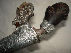 Antique silver sekin dagger malayan  knife sword