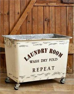 New Industrial Farmhouse Chic Shabby Laundry Cart Basket Bin Box Wheels | Home & Garden, Home Décor, Baskets | eBay! #industrialkitchen