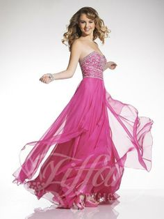 Tiffany Designs 2014 Prom Dress  Strapless sweetheart neckline, chain rhinestone and sequin pattern bodice, two-toned chiffon skirt with flyaway panel over circle chiffon, zipper back.  Available Colors: Geranium, Yellow, Orange  Available at Brandi's Bridal Galleria, Etc. Visit www.brandisbridal.com for more info!  #prom2014 #promdress #ballgown #promballgown #pinkpromdress #fuchsiapromdress