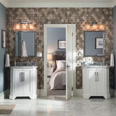 Indulge in a little glamour with brilliant chrome accents, crystal-cut glass lighting and a marble-topped vanity from Lowe's.