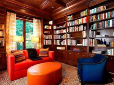 The furniture may provide bright pops of color, but I'm still looking at those shelves!